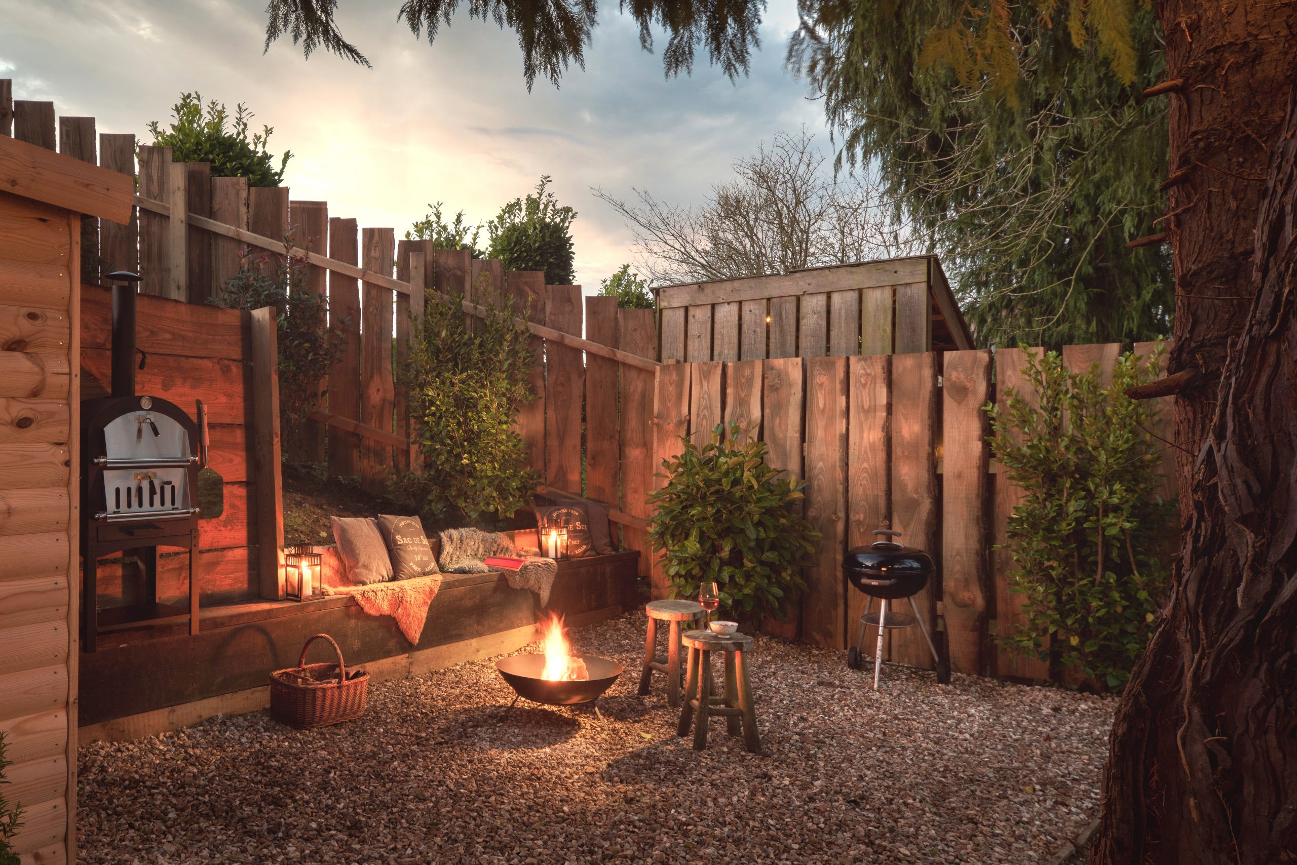 Firepit area at night